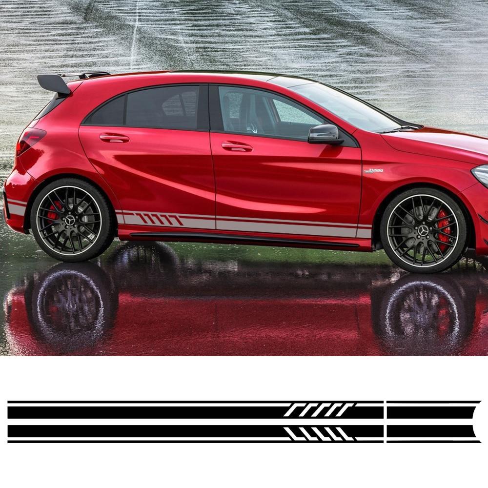 Edición 1 Estilo puerta lado rayas falda Sill calcomanías pegatina para Mercedes Benz CLA clase W176 A45 AMG Coche styling Accesorios