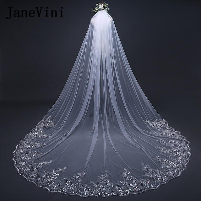 fbb795f0d046e Jane Vini Luxury Beaded Lace Edge Long Bridal Veils Bride Veil 3 Meters One  Layer Ivory White Cathedral Wedding Veil With Comb