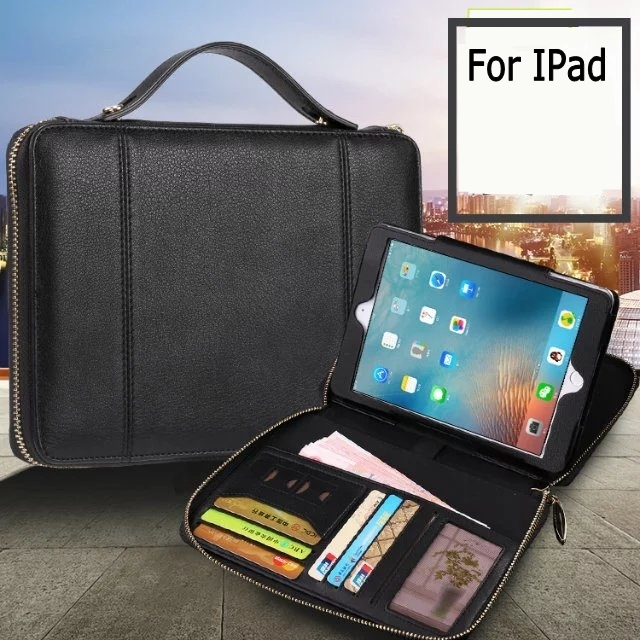 Super Business Fashion Solid Wallet Card multi-functional PU leather Bag stand holder cover case for ipad AIR 2 ipad AIR fashion pu cover business   credit card