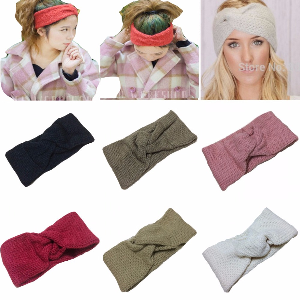 Retail Knitted Turban headband for women Ear Warmer twist black wide hair band lady hair accessories winter metting joura vintage bohemian green mixed color flower satin cross ethnic fabric elastic turban headband hair accessories