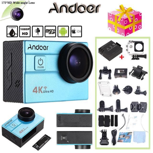 "Oversea Stock Andoer Sports Action Camera 4K WiFi 2.0"" LCD 16MP 4X Zoom 173 Degree Wide-Lens Waterproof 30M Mini Camera"