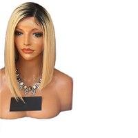 DLME 12 inch Krótki Bob Peruki Two Tone Ombre Blond Perukę Koronki przodu Peruka Żaroodporne Fiber Włosy Glueless Peruki Syntetyczne Dla Kobiet