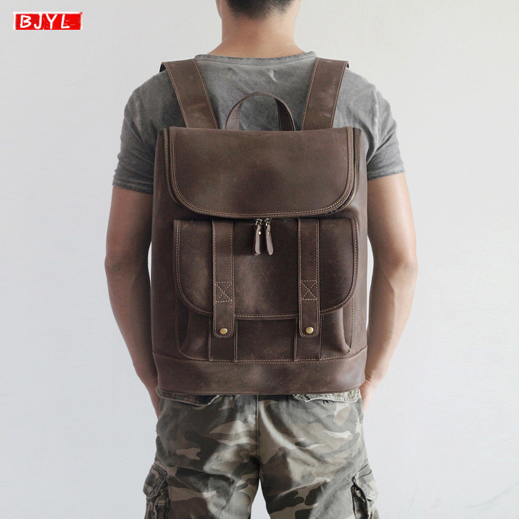BJYL New Genuine Leather mens backpack retro crazy horse leather male laptop shoulder bag business leisure travel computer bagBJYL New Genuine Leather mens backpack retro crazy horse leather male laptop shoulder bag business leisure travel computer bag