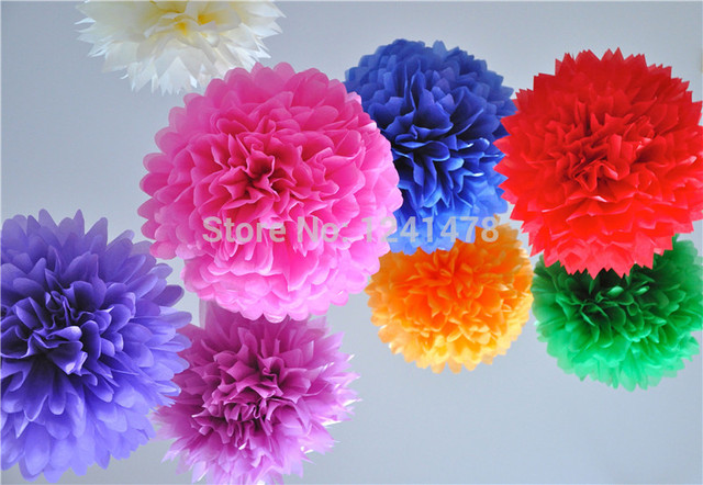24 Colors Available Paper Pom Pom Party Decorations 8inch20cm