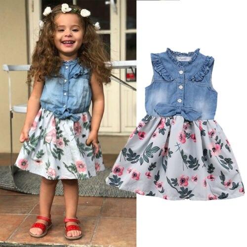 Emmababy Newborn Kid Baby Girl Denim Shirt Sleeveless  Floral  Dress Sundress Clothes thumbnail