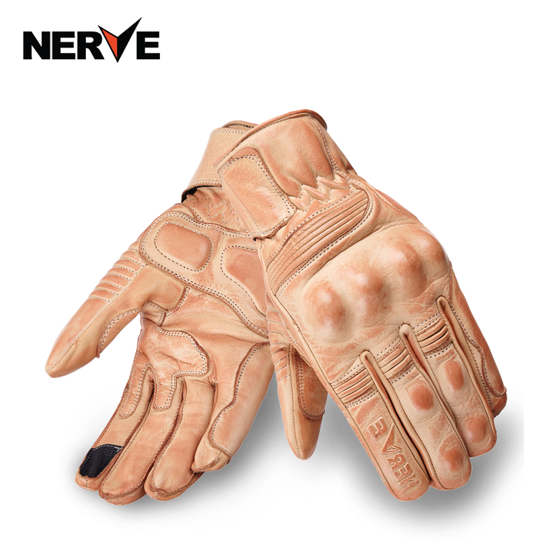 NEW NERVE Retro Pursuit Real Leather Motorcycle <font><b>Gloves</b></font> Moto Riding Waterproof Full Finger <font><b>gloves</b></font> big size S M L XL XXL 3XL