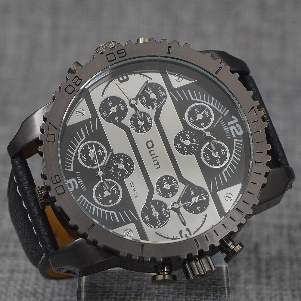 OULM Brand Mens Big Face Watches 4 Time Zone Leather