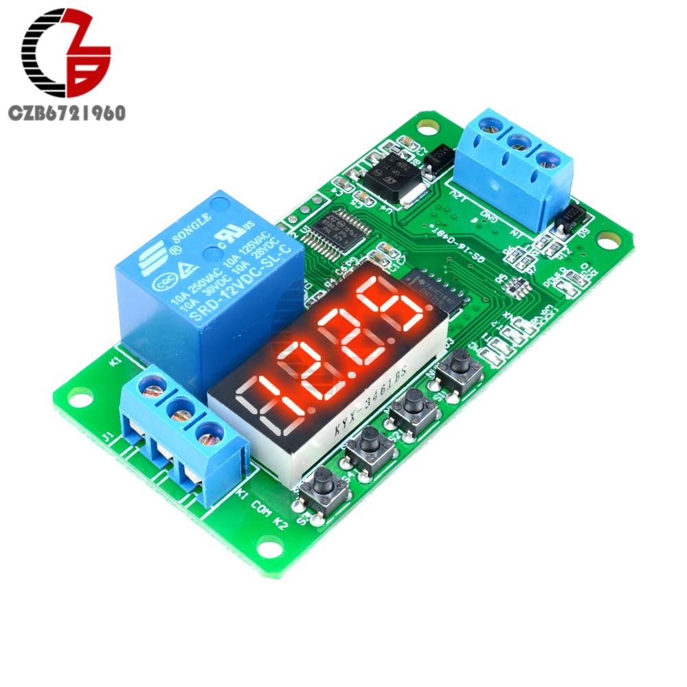 DC 12V NE555 Relais relais temporisable Module de conduction D/éclencheur Commutateur Minuterie de temporisation ajustable /Électronique Arduino Couleur: rouge