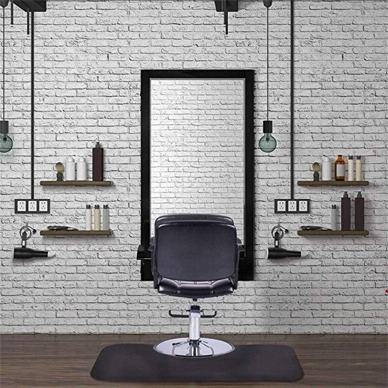 Tapis de sol de Salon de barbier Rectangle noir anti-dérapant imperméable tapis de chaise HB84663