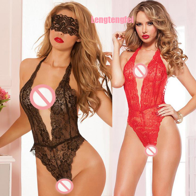 Hot 2016 Sexy Lingerie Hot Red Black Lace Deep_v Neck Teddy Sexy Underwear Erotic Lingerie Lenceria Sexy Costumes Sexy Lingerie