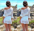 2016 new European foreign trade explosion hook flower hollow jumper beach lace dress