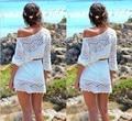 2016 new European foreign trade explosion hook flower hollow jumper beach lace dress