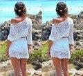 2016 nueva flor del gancho de explosión del comercio exterior europeo beach encaje hueco jumper dress