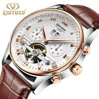 KINYUED Skeleton mechaniczny zegarek z tourbillonem mężczyźni automatyczne kolczyki classic rose złoty skórzany mechaniczne zegarki na rękę Reloj Hombre 2020