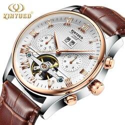 Kinyued Скелет Tourbillon механические часы Для мужчин Автоматическая Классический розового золота кожа механические наручные Часы Reloj Hombre 2017