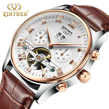 Kinyuedスケルトントゥールビヨン機械式腕時計メンズ自動クラシックローズゴールドレザー機械式腕時計リロイhombre 2020