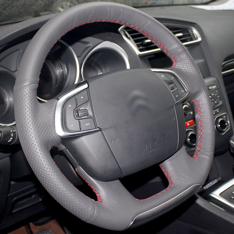 BANNIS Black Artificial Leather DIY Hand-stitched Steering Wheel Cover for Citroen C4 C4L