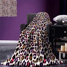 African Throw Blanket Leopard Skin Motif with Abstract Safari Animal Camouflage Pattern Warm Microfiber Blanket(China)