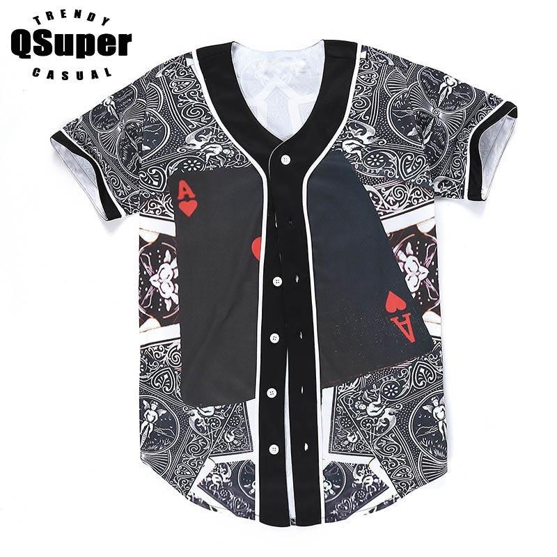QSuper 3D Print Funny Cool Baseball Men t shirts Short Sleeve Slim Fit Streetwear Baseball Jersey