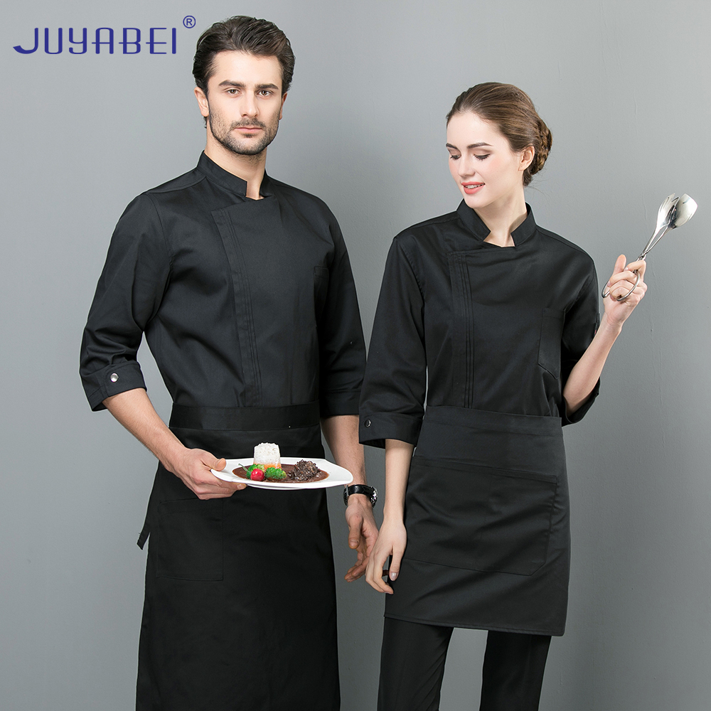 2019 New Listing High Quality Chef Jacket Seven-point Sleeve Summer Service Unisex Restaurant Kitchen Hotel Solid Color Overalls