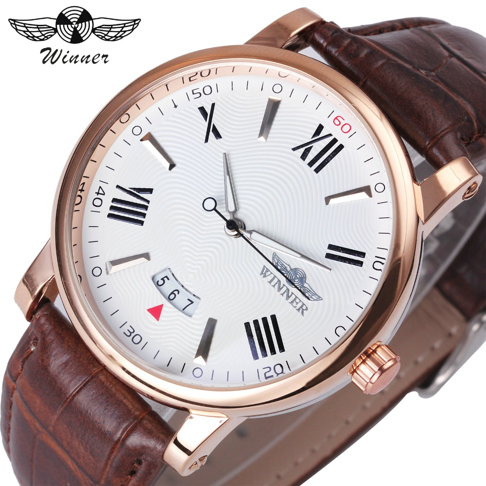 WINNER Fashion Minimalist Men Auto Mechanical Watch Leather Strap Date Display White Dial Top Brand Luxury Wristwatch guanqin men auto mechanical watch water resistance luminous pointer date 24 hour display transparent back cover wristwatch