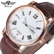 WINNER Fashion Minimalist Men Auto Mechanical Watch Leather Strap Date Display White Dial Top Brand Luxury Wristwatch