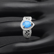 Silver Color Filled Rings Blue Water Drop Opal For Women 2019 New Design Stylish Finger  Party Jewelry