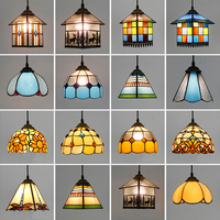 Artpad Tiffany Colorful Glass Pendent Light Fixtures Kitchen Bedroom Bar Corridor Balcony E27 Base Bulb Home Lightings