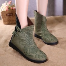 The new size (35 - 40) Chinese genuine wind Folk Style Embroidered Cotton Women's boots embroidered old Beijing cloth shoes