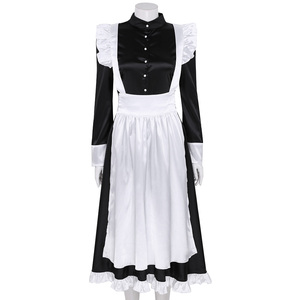 Image 2 - Sexy Adult Woman French Maid Servant Cosplay Costume Black&White Maid Costume Halloween Party Long Dress  + Apron + Headpiece