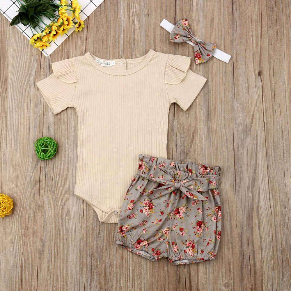 2019 Bebek Yaz Giyim Yenidoğan Bebek Kız bebek Erkek Setleri Katı Nervürlü Romper + Çiçek PP Şort + Kafa Bandı 3 adet Kıyafet
