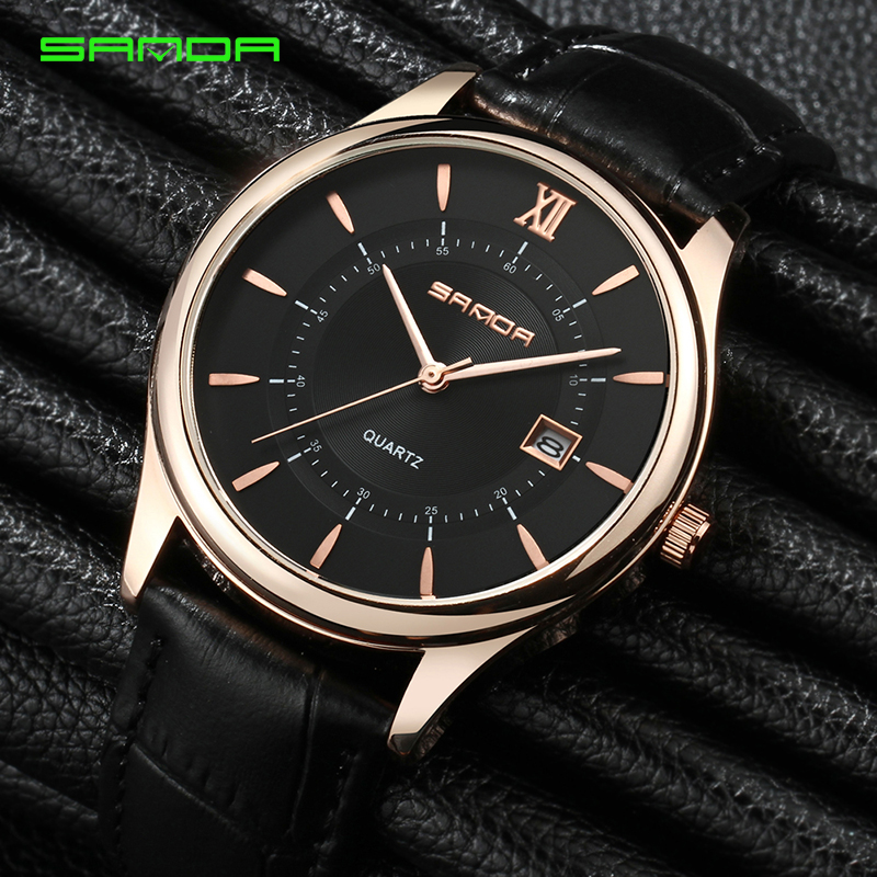 SANDA Luxury Brand Mens Watches Fashion Stainless Steel Quartz Watch Clock Male Leather Waterproof Wrist Watch Relogio Masculino skmei quartz man watch 2017 fashion mens watches top brand luxury stainless steel male wrist watch male clock relogio masculino
