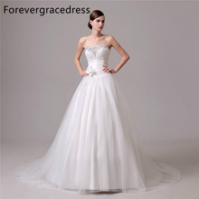 Forevergracedress Elegant Cheap Wedding Dress Sweetheart Beaded Crystals Handmade Flower Long Bridal Gown Plus Size Custom Made