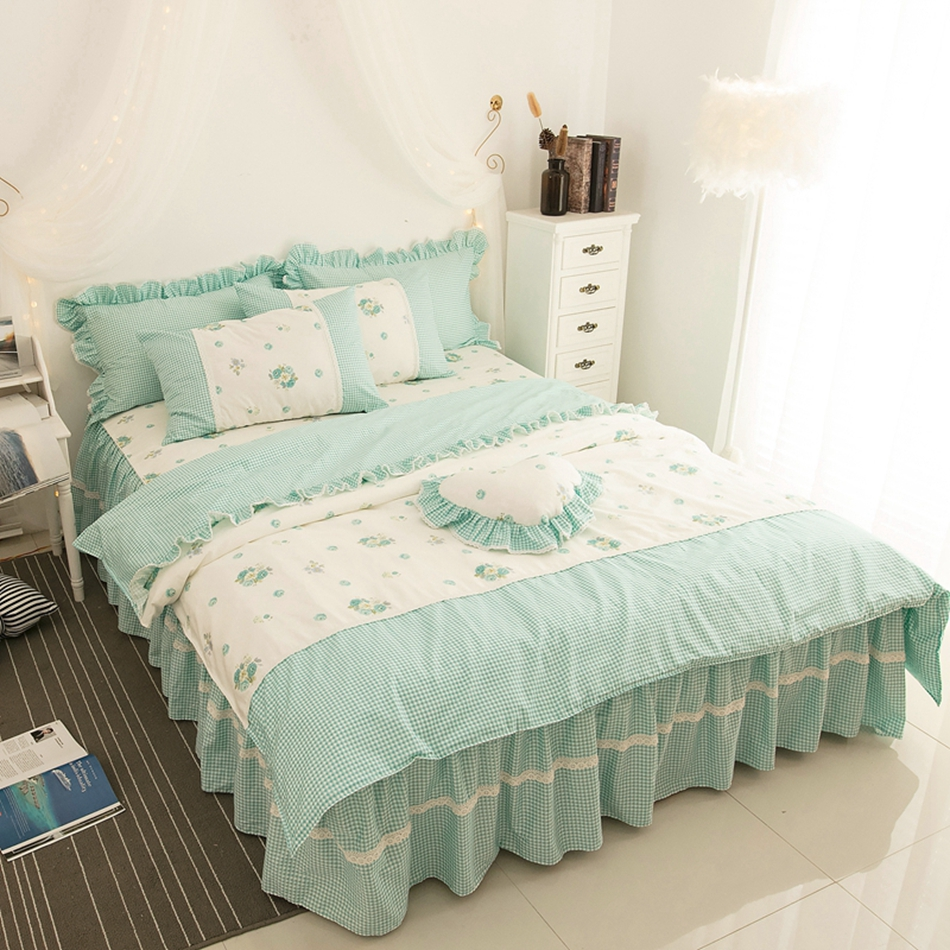 Bedspread Ruffle Floral Bedding Set Bed Skirt Lace