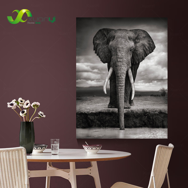 African Elephant  Oil Painting Wall Art Canvas Cuadros Decoracion Canvas Pictures For Living Room Canvas Print No frame PR1172 african elephant