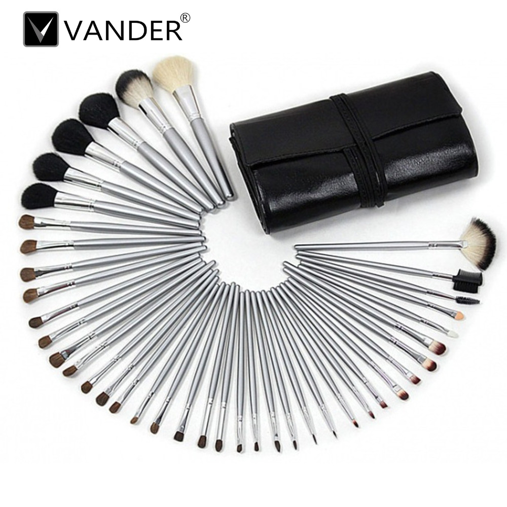 40 Pcs Professional Goat Hair Cosmetic Makeup Brushes Pincel Maquiagem Eyeliner Foundation  Set Tool Pouch Case makeup brushes tool set 29pcs professional makeup tools accessories goat hair cosmetic with black leather cosmetic case