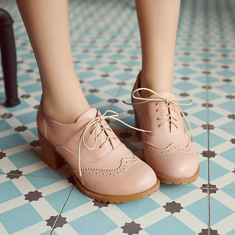 ФОТО Spring Lace Up Bullock Shoes Thick Heel Ladies Pumps