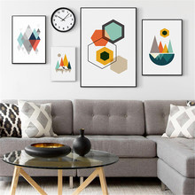 Abstract Geometry Posters Prints Scandinavian Canvas Painting For Living Room Wall Picture Nordic Modern Art Home Decor No Frame(China)
