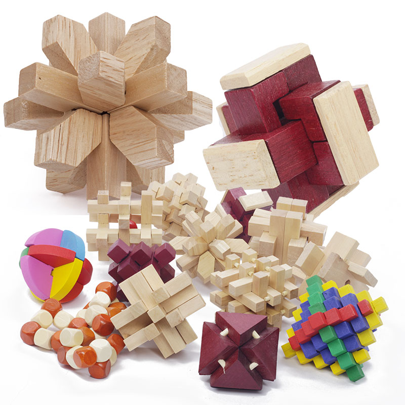53 Kinds 3D Wooden Puzzle Toys Game Interlocked Cube Brain Teasers Educational Toy For Children Building Kit Block Model 29-53