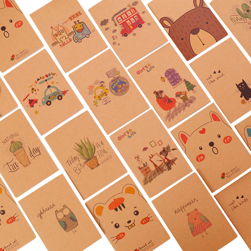 4pcs/lot 64K Vintage Blank Paper Notebook Pocket Journal Cute Notepad Stationery Diary Agenda For School And Office Supply
