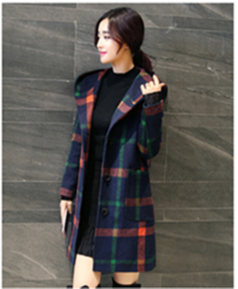 2018 Winter Coat Ladies Woollen Plaid Hooded Overcoat England Type Style Slim Lengthy Outwear Manteau Femme Hiver Wool Coat