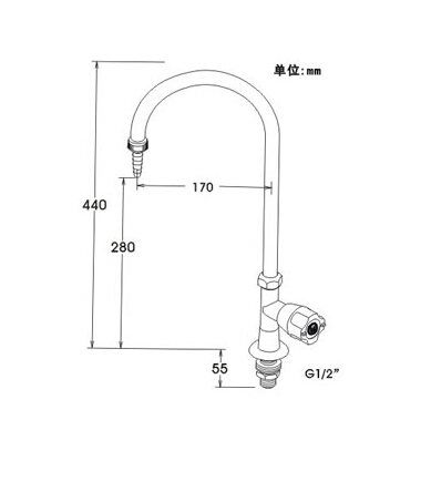 A1001  Single-port table-type elbow faucet Pure copper  water nozzle laboratory water tap faucet
