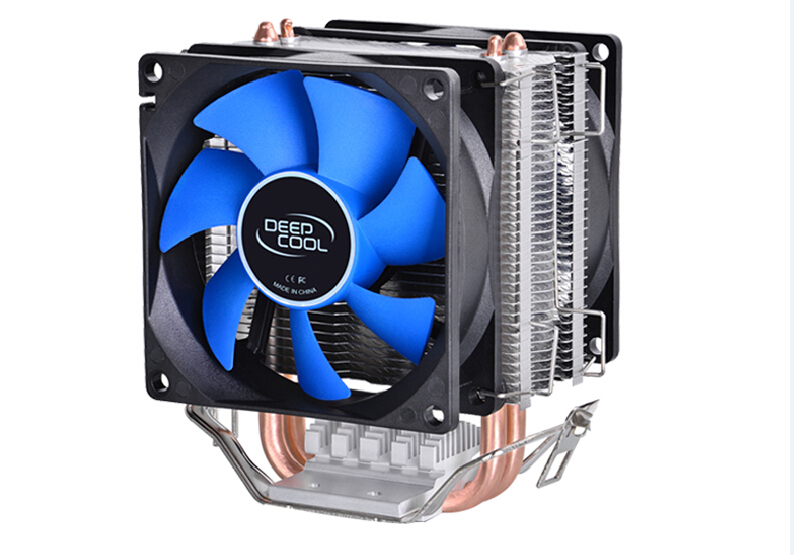 Deepcool MINI CPU cooler 2pcs 8025 fan double heatpipe radiator for Intel LGA 775/115x, for AMD 754/940/AM2+/AM3/FM1/FM2 cooling pccooler donghai x5 4 pin cooling fan blue led copper computer case cpu cooler fans for intel lga 115x 775 1151 for amd 754