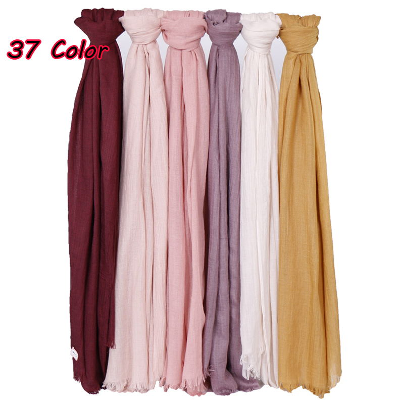 Solid maxi Plain Hijab Scarf Shawls muslim scarves soft cotton Frayed Hijabs Pashmina wraps headband scarves