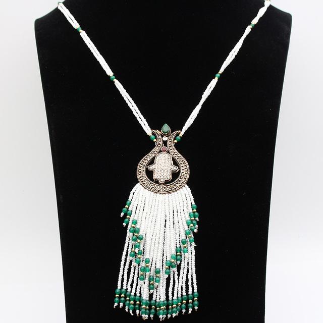 Romantic Vintage Doble nivel Perlas Borla Collares Chapado En Oro Antiguo Turco Tulipán Flor Collares Mujeres Bijoux Navidad