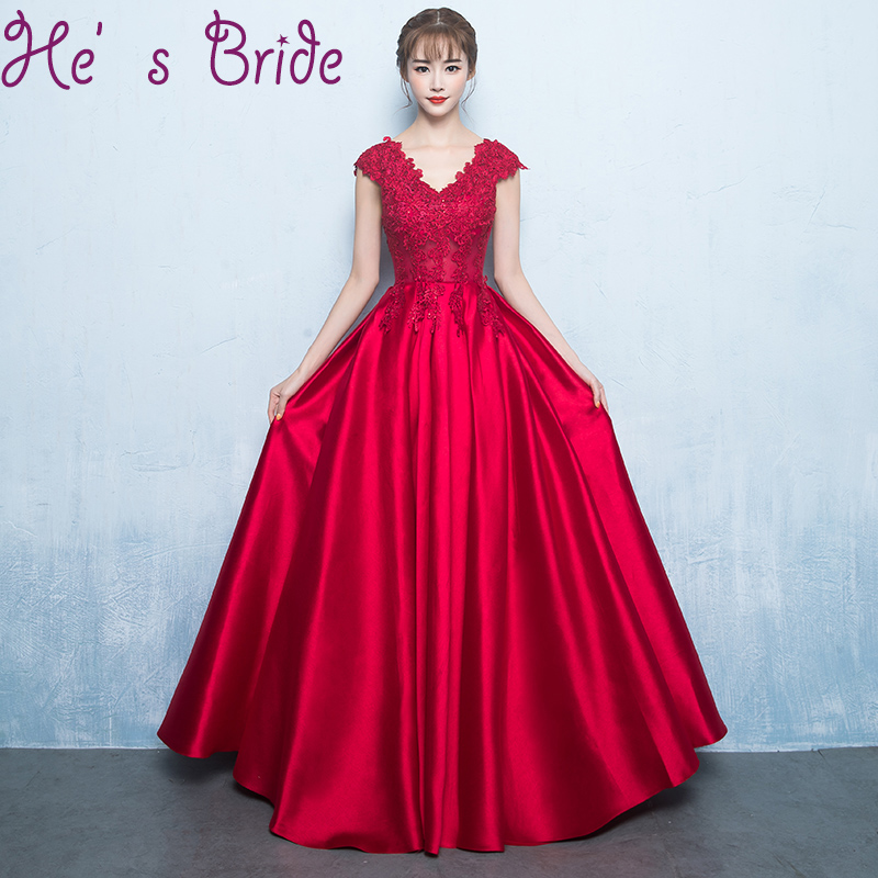 51e3e93f30 Evening Dress Elegant Wine Red V Neck Robe De Soiree Sleeveless Lace Up Back  A Line Lace Satin Floor Length Party Prom Dress-in Prom Dresses from  Weddings ...