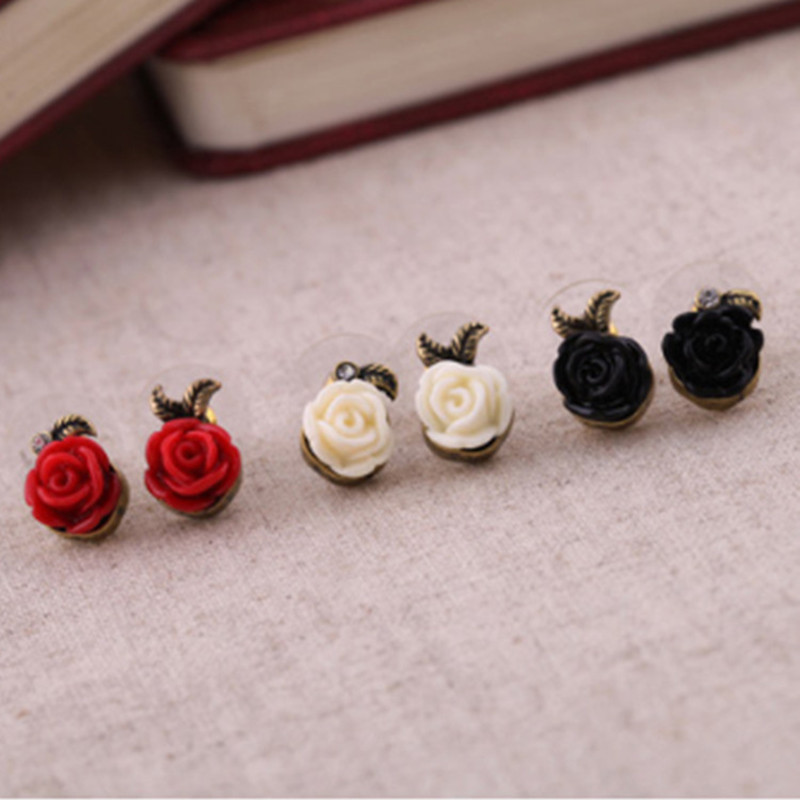 C080 New Fashion Vintage Boucles doreilles Crystal Rose Flower Stud Earrings For Women Jewelry Gift Brincos Pendientes