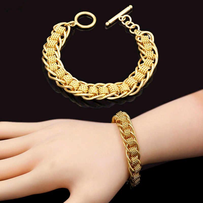 Vintage 13MM genişliğinde daire bilezik bilezik ve erkekler için altın renk zincir bağlantı bilezik erkek takı hediye