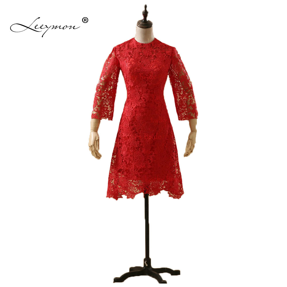 Leeymon Red Lace   Cocktail     Dress   Short A-Line Elegant 3/4 Special Occasion Gown Party Prom   Dress   2019
