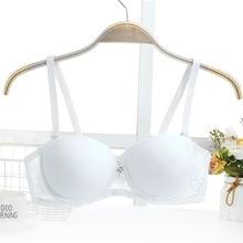 Black white gather breast super Push Up Sexy Women Bra Lace Lingerie Small Breast Adjusts straps A B Bra Female t shirt bra